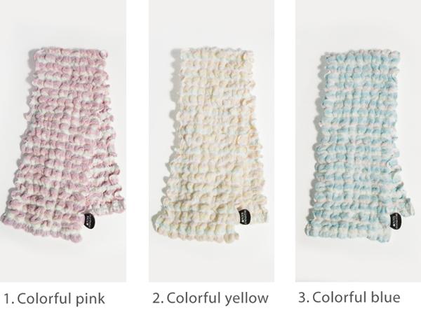 ベットカラフルロングフェイスタオル (無撚糸)・ecomoco face towel